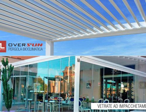 Pergola bioclimatica e vetrate ad impacchetamento